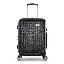 Load image into Gallery viewer, Nile Collection SMART Luggage in black. Removable battery pack can charge your phone. TSA-approved combination lock.