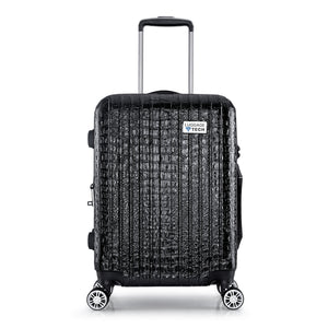 Nile Collection SMART Luggage in black. Removable battery pack can charge your phone. TSA-approved combination lock.