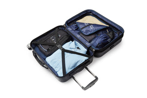 Melbourne Collection SMART Luggage features a fully lined interior featuring multiple organizational pockets for clothes, shoes, electronics, accessories, toiletries and sundries, allowing for easy access to all of your items, compression straps keep clothing neatly packed and secure