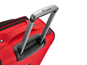 Luggage Tech's Melbourne Collection SMART Luggage with innovative handle, ergonomic push-button locking handle design fits secure in your hand for maximum mobility and comfort