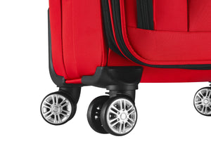 You'll breeze through the airport thanks to the double spinner wheels, custom 360° dual spinner wheels designed for effortless mobility and stability. SMART Luggage from Luggage Tech