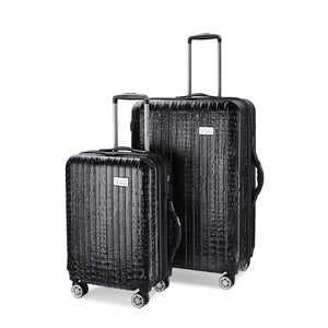 Nile Collection of SMART Luggage by Luggage Tech. Available in 20 inch carry-on and 28 inch sizes. Shown here in Black