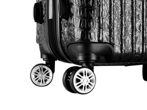 The Nile Collection SMART Luggage features double spinner wheels, custom 360° dual spinner wheels designed for effortless mobility and stability