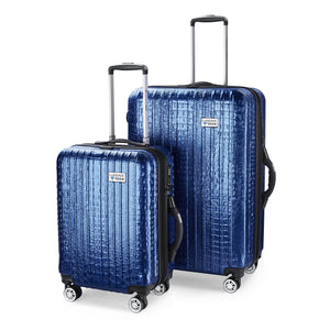 Nile Collection of SMART Luggage by Luggage Tech. Available in 20 inch carry-on and 28 inch sizes. Shown here in Blue
