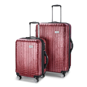 Nile Collection of SMART Luggage by Luggage Tech. Available in 20 inch carry-on and 28 inch sizes. Shown here in Rose.