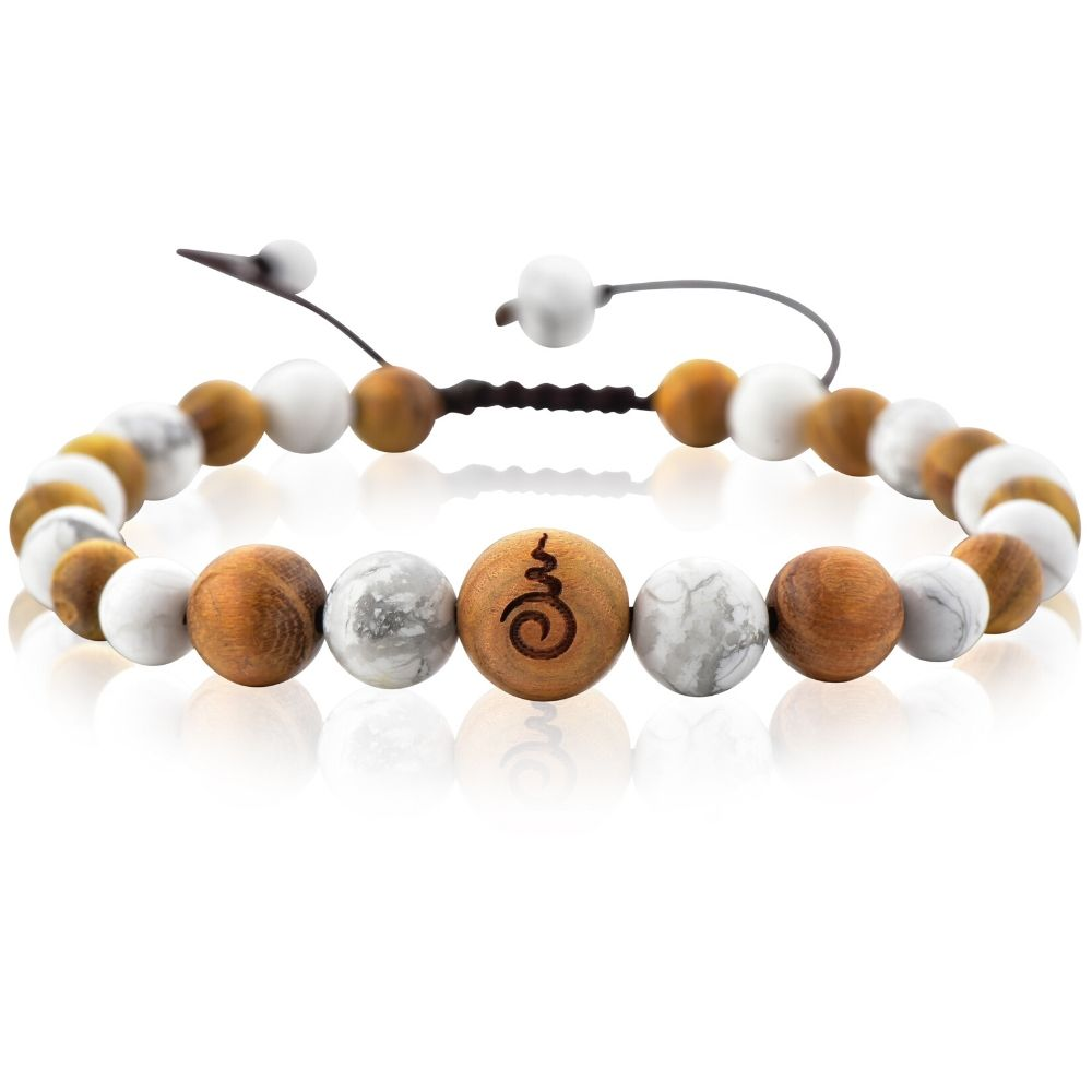 White Howlite & Sandalwood Entwined