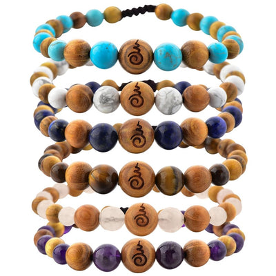Rose Quartz, Amethyst, Tiger's Eye, Lapis Lazuli, Blue & White Howlites & Sandalwood Entwined