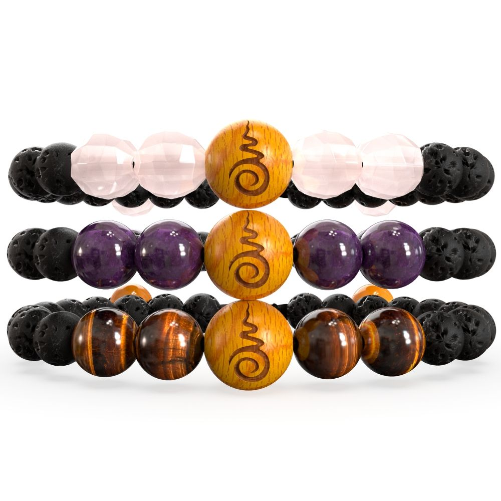 Rose Quartz, Amethyst, Tigers Eye, Sandalwood & Lavarock