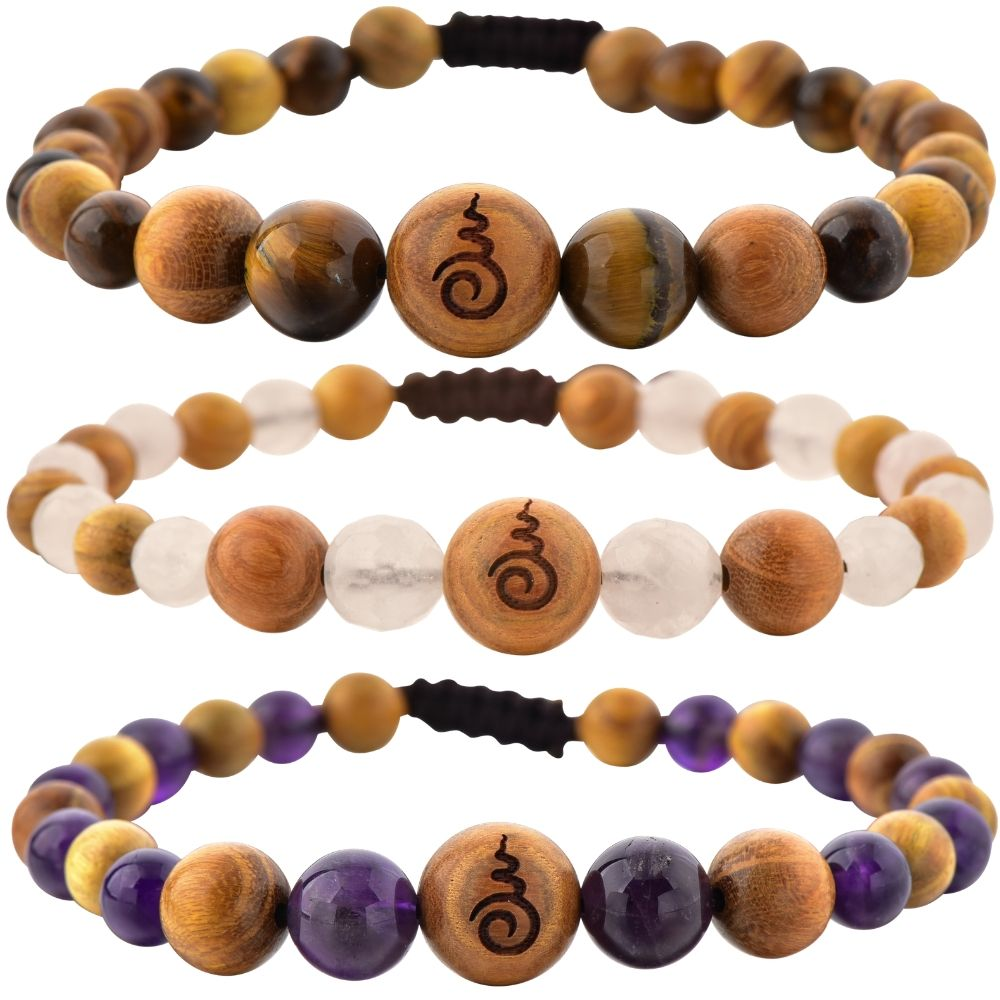 Rose Quartz, Amethyst, Tiger's Eye & Sandalwood Entwined