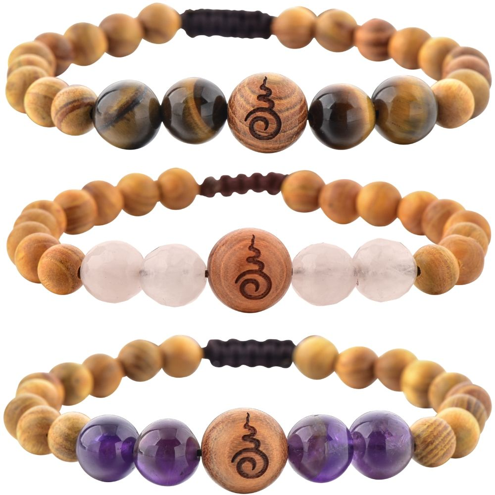 Rose Quartz, Amethyst, Tiger's Eye & Sandalwood