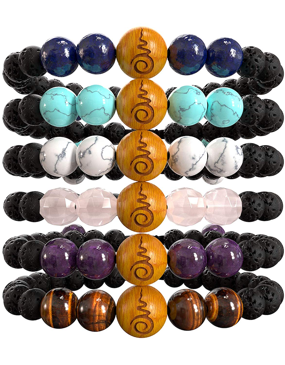 Rose Quartz, Amethyst, Tigers Eye, Lapis Lazuli, Blue & White Howlites, Sandalwood & Lavarock