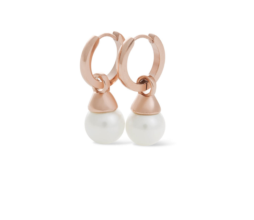 Hoop Earring Round 10mm Shell Pearl Rose Gold