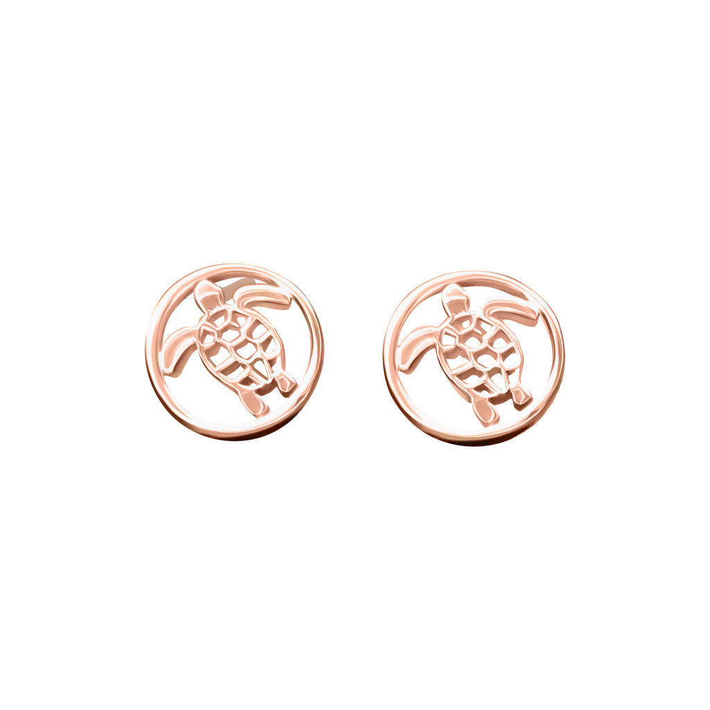 Turtle Stud Openwork Rose Gold or Gold