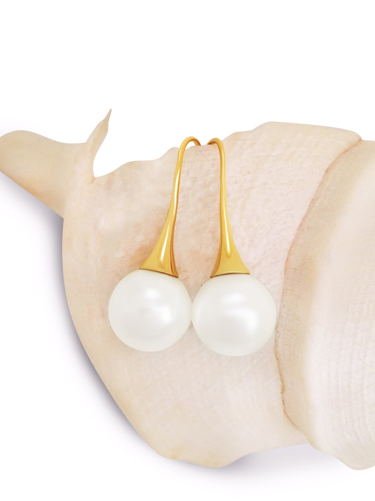 Round 12 mm Pearl Earring Drop Gold