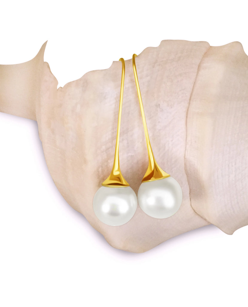 Fluted Pearl Earring Drop Gold