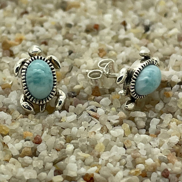Larimar Sea Turtle Studs