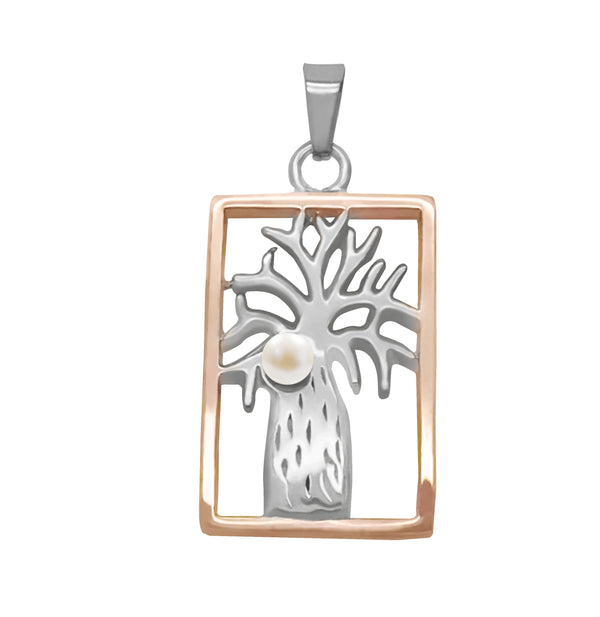 Boab Rectangle Pendant with Pearl - Two Tone Steel/ Rose Gold