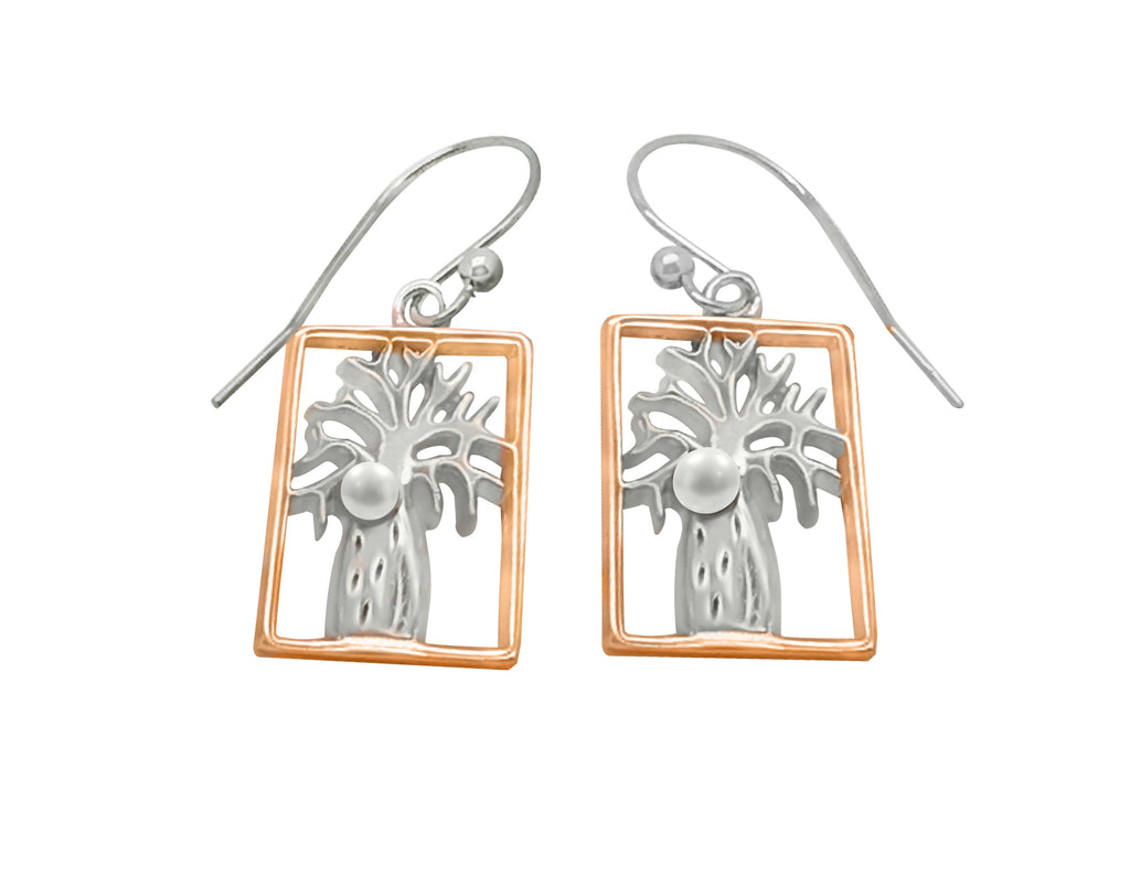 Boab Rectangle Earrings with Pearl -  Two Tone Silver/Rose Gold