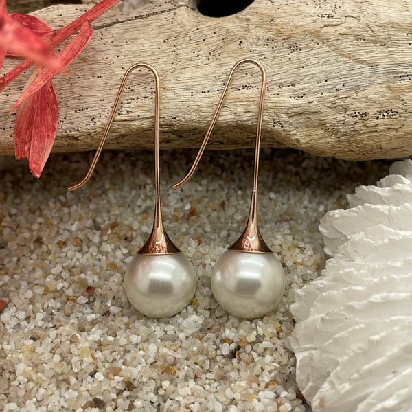 Fluted Pearl Earring Drop Rose Gold