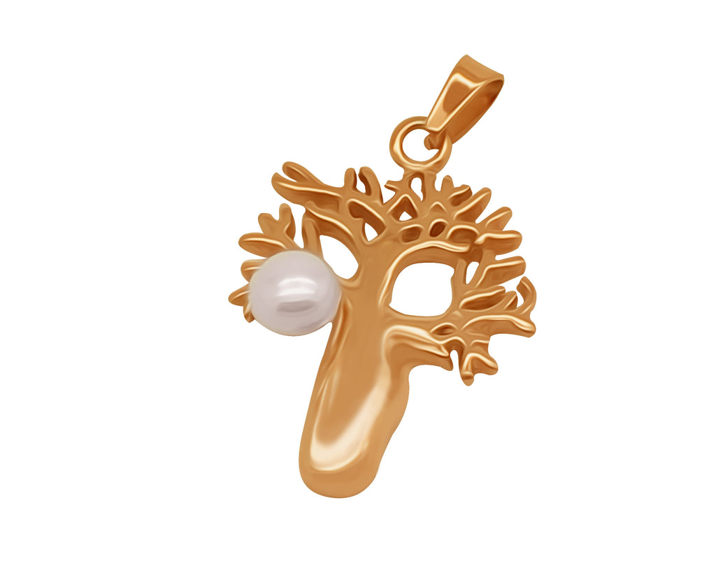 Boab Pendant  with Pearl - Rose Gold