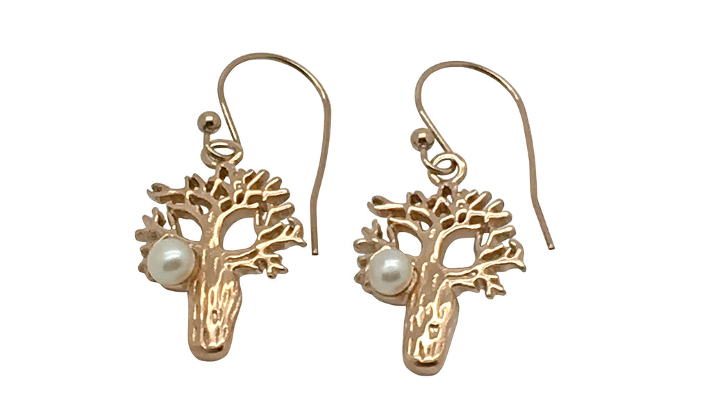 Boab Earrings with Pearl - Rose Gold