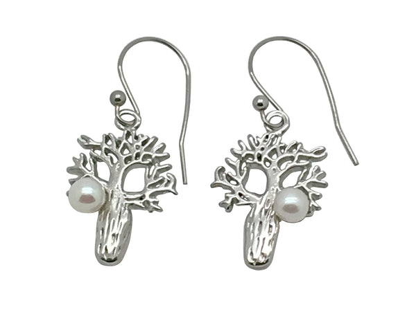 Boab Earrings With Freshwater Pearl