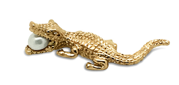 Crocodile Pendant  - Rose Gold with Freshwater Pearl