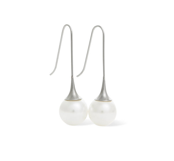 Fluted Pearl Earring Drop