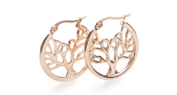 Tree of Life Hoop Earrings Rose Gold