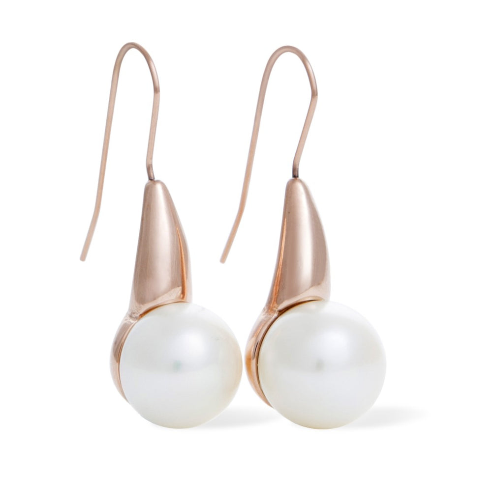 Classic Freshwater Pearl Drop Pearl Earrings - Rose Gold