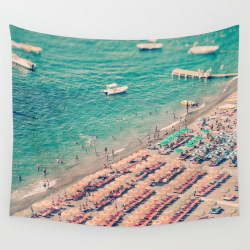 Aerial Beach Print Wall Tapestry - Positano wall art - Ruby and B Studio