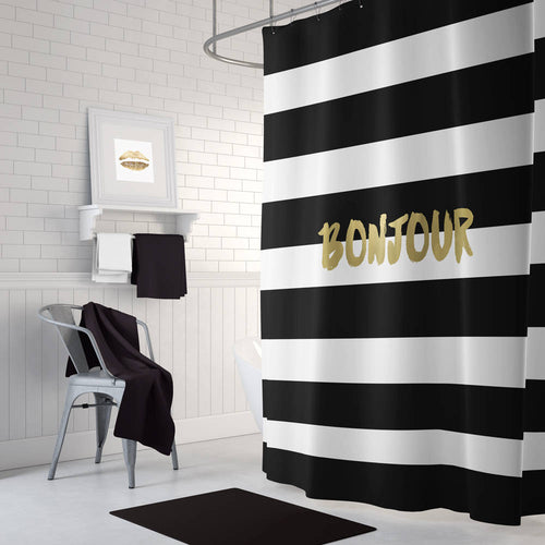Black and gold shower curtain, long shower curtain, white shower curtain, bathroom decor, gold bath decor, Bonjour, striped bath curtain - Ruby and B Studio
