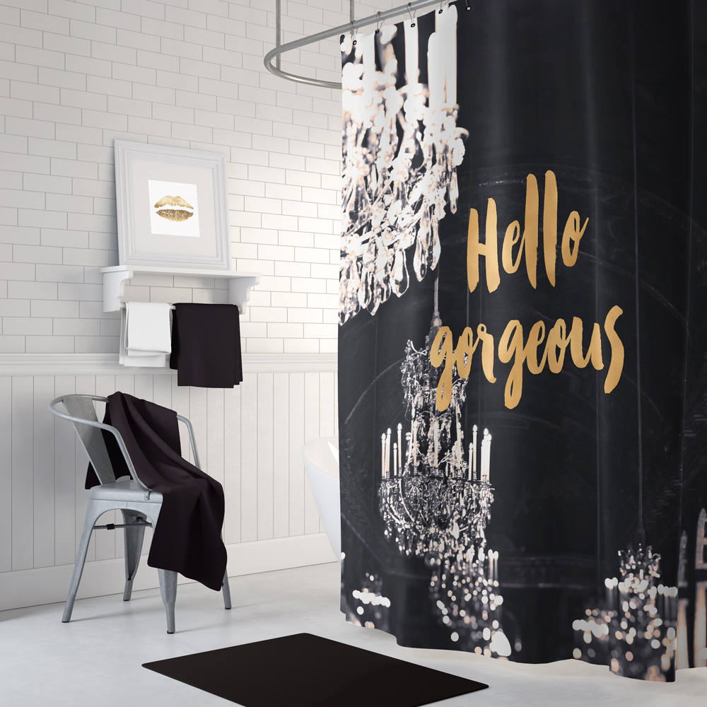 Load Image Into Gallery Viewer Black And Gold Shower Curtain Chandelier