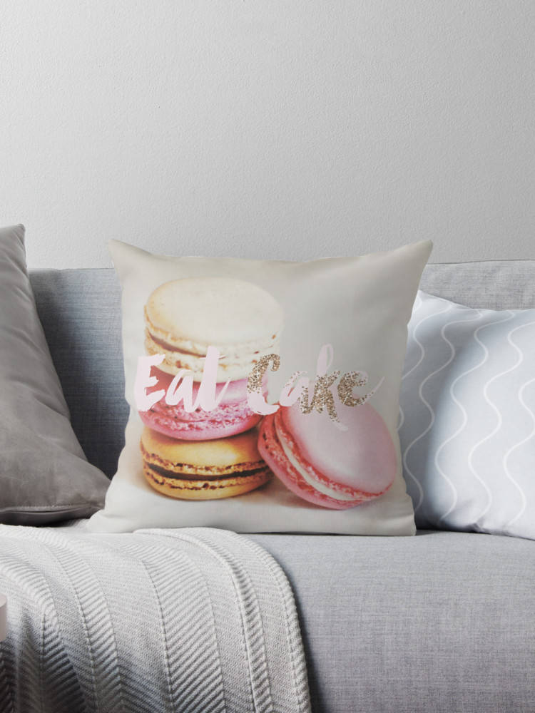 Paris throw pillow, macaron pillow, pastel pillow, Paris bedding, pastel home decor, eat cake, Marie-Antoinette, gift for her, pink pillow - Ruby and B Studio