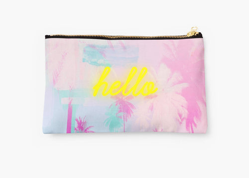 Customised clutch pouch, Palm tree bag, makeup bag, pencil case, pink bag, gift for her, monogrammed clutch - Ruby and B Studio