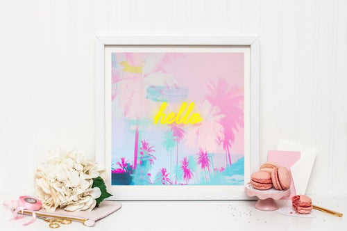 Pink palm tree print, neon light print, pink decor, large wall print, wall decor, nursery decor, gift for her - Ruby and B Studio