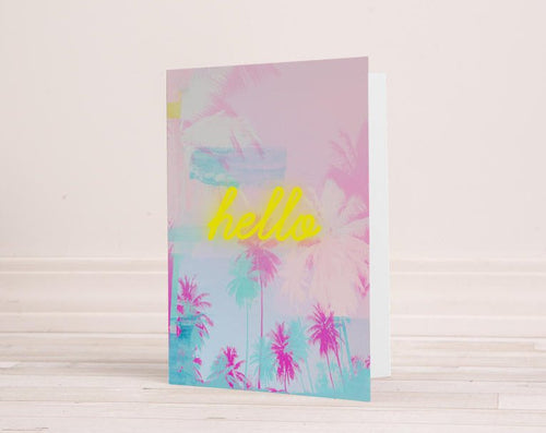 Palm Tree Greeting Card, neon greeting card, hello card, stationery, blank cards, birthday card, anniversary card - Ruby and B Studio