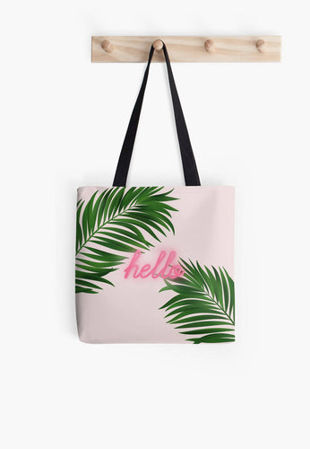 Palm Tree Tote Bag, neon, typography bag, market bag, library bag, fabric bag, neon bag, green bag - Ruby and B Studio