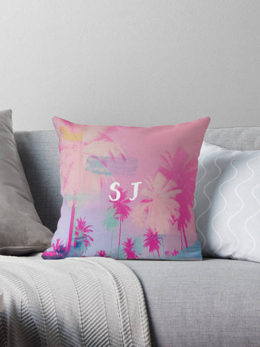 Palm tree print pillow, monogrammed pillow, pink pillow, customised decor, home decor, gift for her, monogrammed cushion, Palm tree decor - Ruby and B Studio