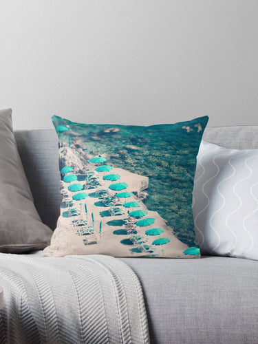 Aerial Beach print throw pillow, beach pillow, ocean decor, beach house decor - Ruby and B Studio