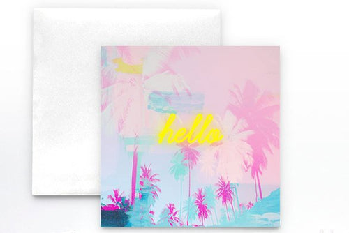 Palm Tree Card, Note card, pink note card, neon sign card, stationery, blank card, invitations, pool party, Summer themed party supplies - Ruby and B Studio
