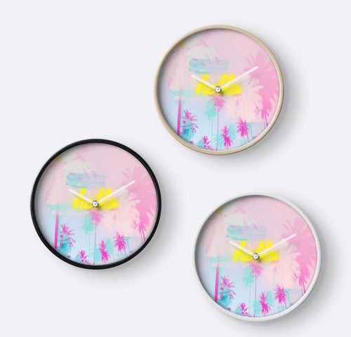 Palm Tree wall clock, Pink clock, neon light clock, pink decor, wall decor, nursery decor, yellow decor, gift for her, dorm decor - Ruby and B Studio