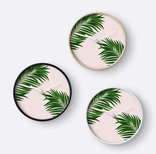 Palm Tree wall clock, Green clock, tropical decor, green decor, pale pink, wall clocks, gift for her, Summer - Ruby and B Studio