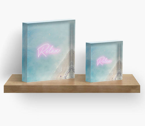 Aerial Beach Print Acrylic Block Art, Beach Print, Beach decor, Home decor, Art, Gift for her, Gift for him, Neon - Ruby and B Studio