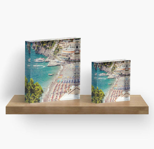 Aerial Beach Print Acrylic Block Art, Positano Print, Beach Print, Beach decor, Home decor, Art, Gift for her, Gift for him - Ruby and B Studio