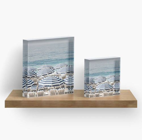 Aerial Beach Print Acrylic Block Art, French Riviera Print, Beach Print, Beach decor, Home decor, Art, Gift for her, Blue and white decor - Ruby and B Studio
