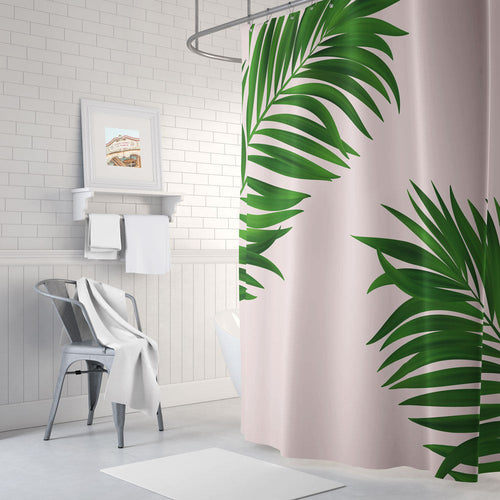 Botanical leaf shower curtain, pink shower curtain, long shower curtain, green shower curtain, bathroom decor, bath tub curtain - Ruby and B Studio