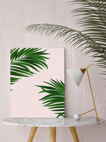 Palm print, Palm decor, millenial pink print, green decor, large wall print, palm canvas art, framed palm print, indoor garden - Ruby and B Studio