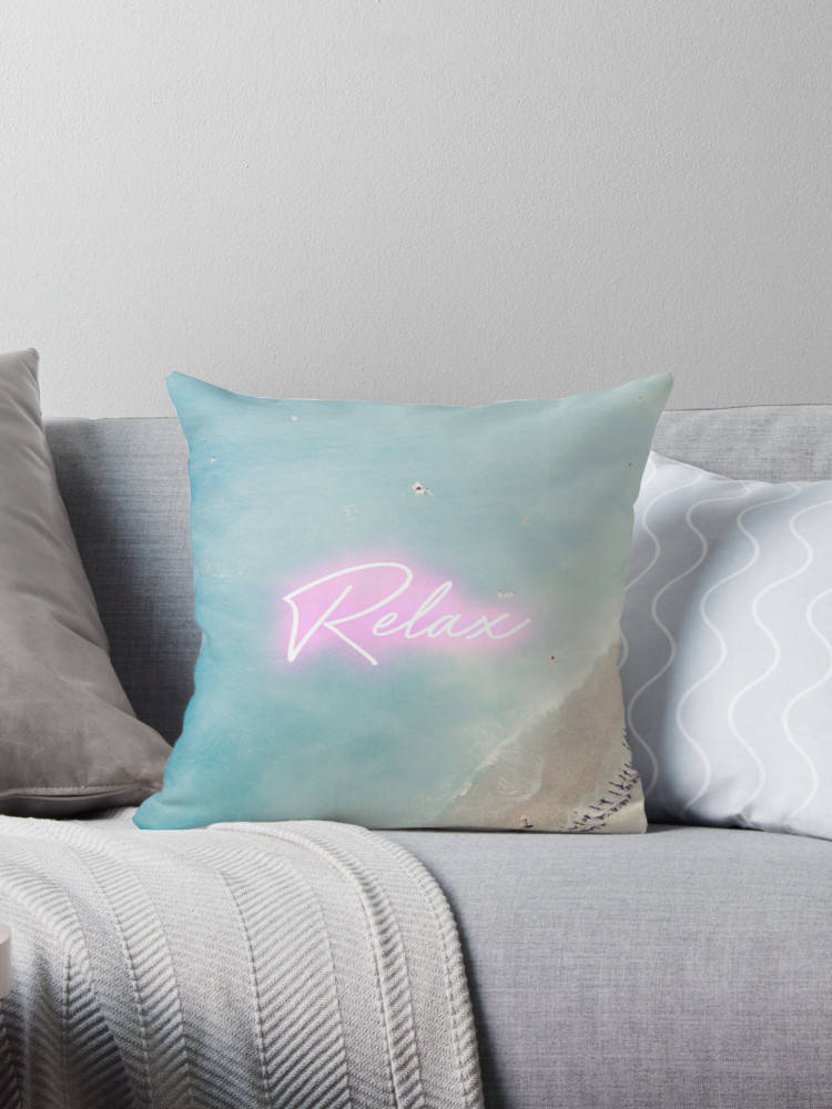 Aerial Beach print pillow, Neon print pillow, blue and white pillow, beach house decor, home decor, gift for her, French Rivera - Ruby and B Studio