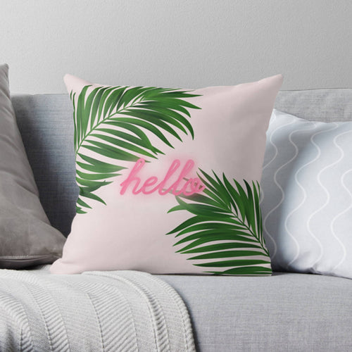 Botanicals print pillow, green pillow, greenery home decor, gift for her, Palm tree decor, neon decor, neon typography - Ruby and B Studio
